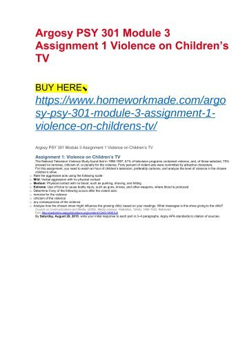 Argosy PSY 301 Module 3 Assignment 1 Violence on Children's TV