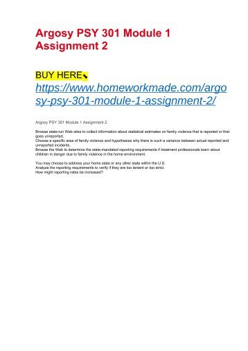 Argosy PSY 301 Module 1 Assignment 2
