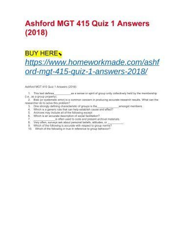 Ashford MGT 415 Quiz 1 Answers (2018)