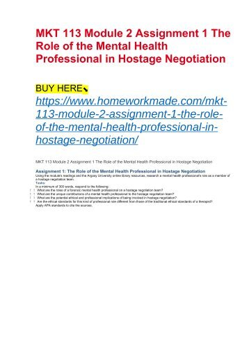 MKT 113 Module 2 Assignment 1 The Role of the Mental Health Professional in Hostage Negotiation