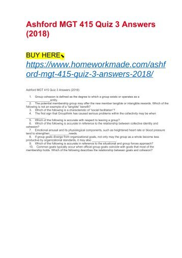 Ashford MGT 415 Quiz 3 Answers (2018)