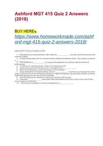 Ashford MGT 415 Quiz 2 Answers (2018)
