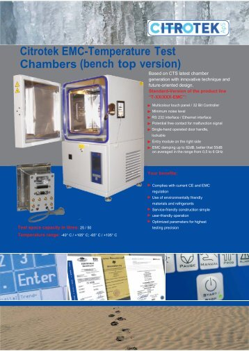 Temperature Test Chambers in Bench Top model with EMC shielding
