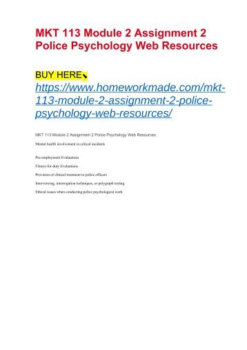 MKT 113 Module 2 Assignment 2 Police Psychology Web Resources