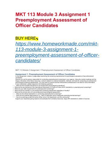 MKT 113 Module 3 Assignment 1 Preemployment Assessment of Officer Candidates