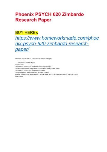 Phoenix PSYCH 620 Zimbardo Research Paper