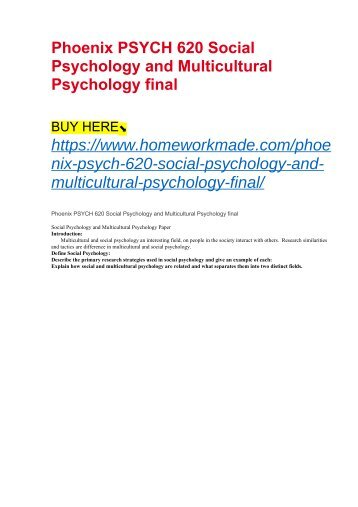 Phoenix PSYCH 620 Social Psychology and Multicultural Psychology final
