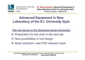 "Prof. Dr. Ibolya Zsoldos: ""Advanced Equipment in ... - Depsme-venet"