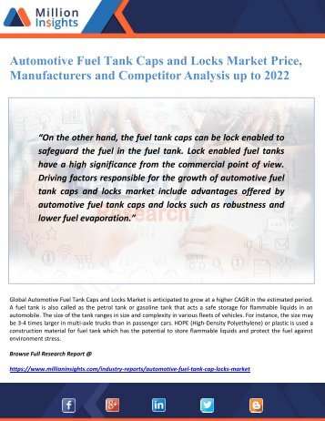 Automotive Fuel Tank Caps and Locks Market Price, Manufacturers and Competitor Analysis up to 2022