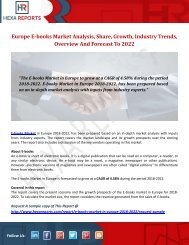 Europe E-books Market Analysis, Share, Growth, Industry Trends, Overview And Forecast To 2022