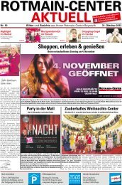 4. November geöffNet - Rotmain-Center, Bayreuth