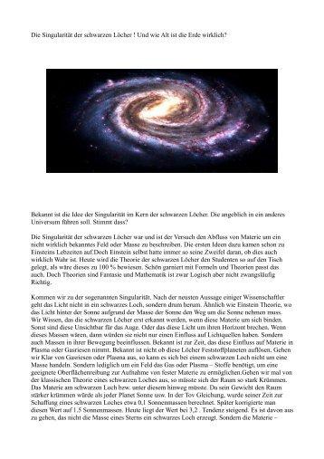 Was sind schwarze Löcher und wie Alt ist die Erde wirklich.