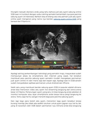 Judi Adu Ayam Sabung Online S128 Di Indonesia