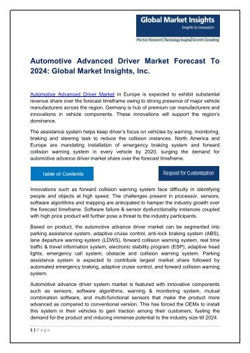 Automotive Advance Driver Market By Technology, Application, Region – Forecast to 2024