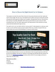 How to Choose the Right Rental Car in Udaipur