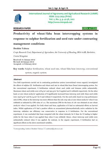 Productivity of wheat/faba bean intercropping systems in response to sulphur fertilization and seed rate under contrasting management conditions