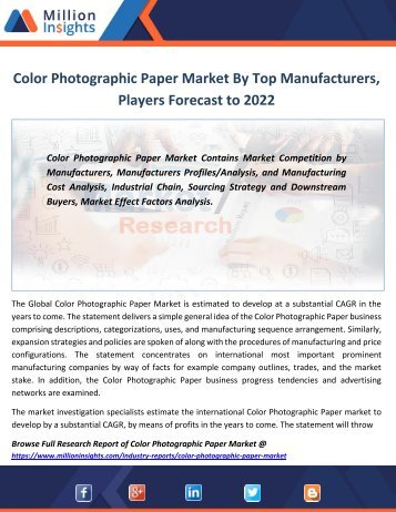 Color Photographic Paper Market By Top Manufacturers, Players Forecast to 2022