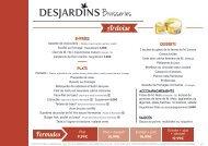 Brasserie Desjardins : La carte du moment !