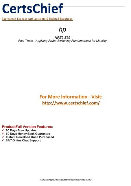 HPE2-Z39 Latest Certification Tests 2018