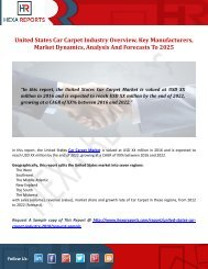 United States Car Carpet Industry Overview, Key Manufacturers, Market Dynamics, Analysis And Forecasts To 2025