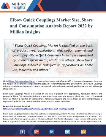 Elbow Quick Couplings Market Segmentation Along With Regional Outlook, Competitive Strategies Factors, Contributing To Growth And Forecast 2022