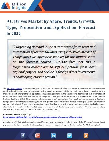 AC Drives Market Is Expected To Expand Globally During The Forecast Period 2022