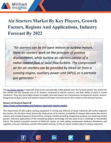 Air Starters Market By Key Players, Growth Factors, Regions And Applications, Industry Forecast By 2022