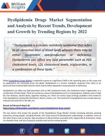 Dyslipidemia Drugs Market Segments Dynamics and Trends Strategies Forecast to 2022