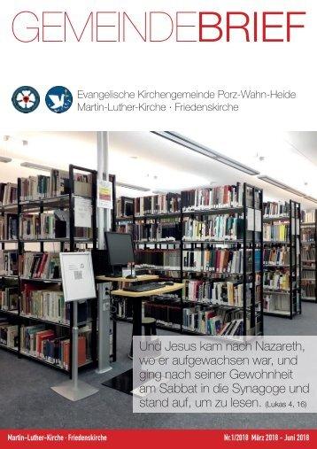 Gemeindebrief-01-2018 Evangelische Kirchengemeinde Porz-Wahn-Heide
