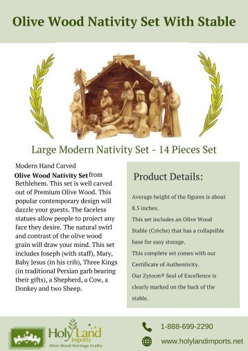Olive Wood Nativity Set With Stable