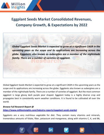 Eggplant Seeds Market Top Companies and Challenges by 2022