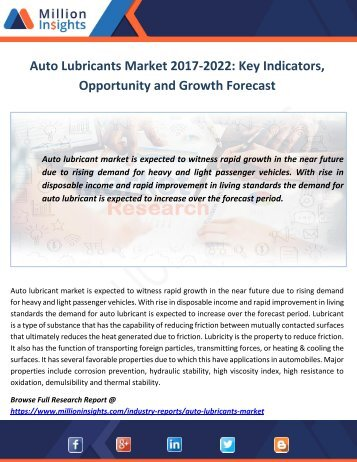 Auto Lubricants Market Analysis, Overview and Forecast by 2017-2022