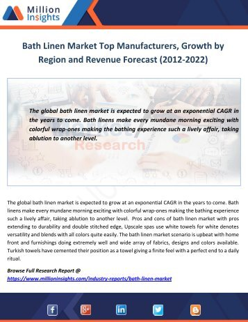 Bath Linen Market Size by Value and Volume, Growth and Region Forecast (2012-2022)