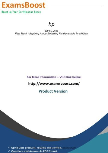 HPE2-Z39 Exam Passing Guarantee 2018