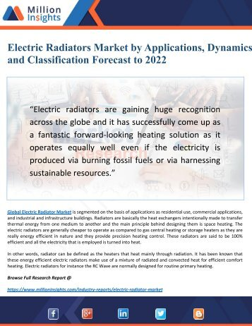 Electric Radiators Market 2022 Driven by Key Players and Regions Forecast