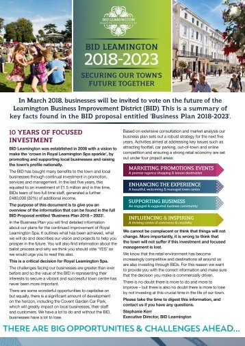BID Leamington Key Facts - BID Ballot 2018