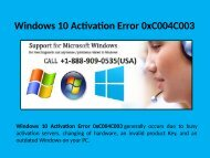1-888-909-0535 Fix Windows 10 Activation Error 0xC004C003