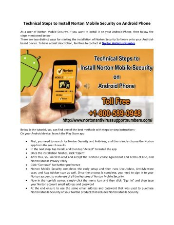 Technical Steps to Install Norton Mobile Security on Android Phone