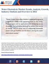 Water Electrolysis Market-Trends, Analysis, Growth, Industry Outlook and Overview to 2022