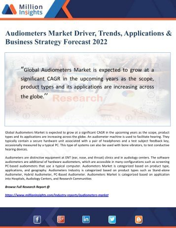 Audiometers Market Driver, Trends, Applications & Business Strategy Forecast 2022