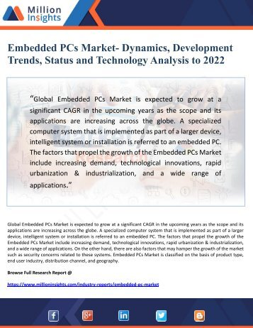 Embedded PCs Market- Dynamics, Development Trends, Status and Technology Analysis to 2022