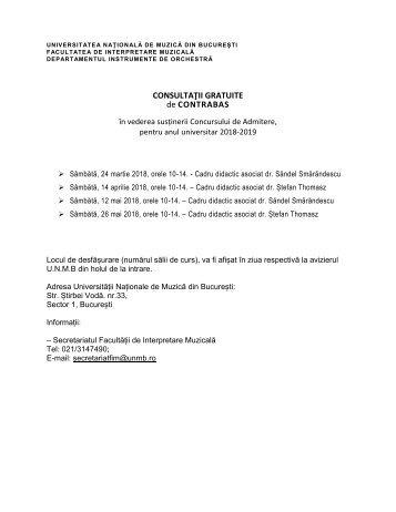 Planificare consultații gratuite Contrabas 2018
