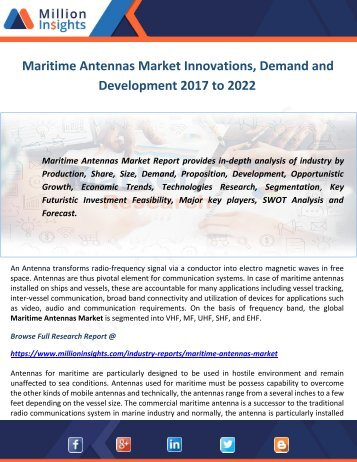 Maritime Antennas Market Innovations, Demand and Development 2017 to 2022