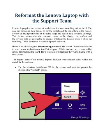 Reformat the Lenovo Laptop with the Support Team