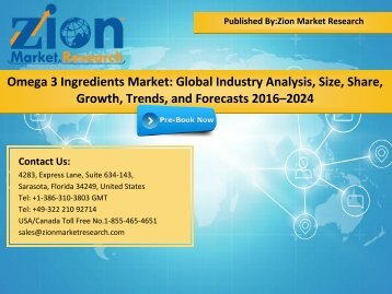 Global Omega 3 Ingredients Market, 2016–2024