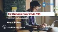 1-800-243-0019 Fix Outlook Error Code 998