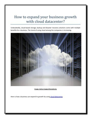 How to expand your business growth with cloud datacenter
