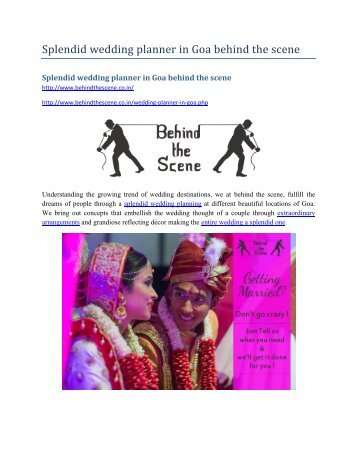 Splendid wedding planner in Goa behind the scene