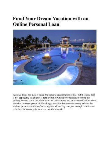 Fund Your Dream Vacation with an Online Personal Loan
