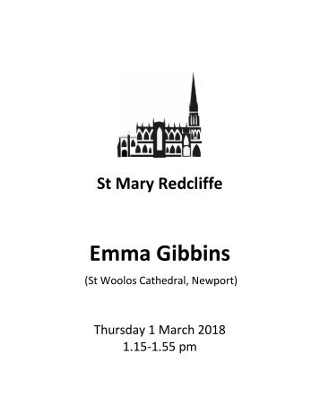 St Mary Redcliffe Church Organ Recital, Thursday 1 March - Emma Gibbins